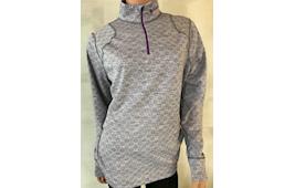 Thermowave Dame trøje med 1/2 lynlås, silver grey melange / plum